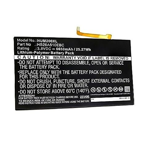 subtel® Batterie premium pour Huawei MediaPad M2 10.0 / MediaPad M2 10.1 Standard, Premium / MediaPad T2 10.0 Pro (6650mAh) HB26A510EBC Batterie de recharge, Accu remplacement