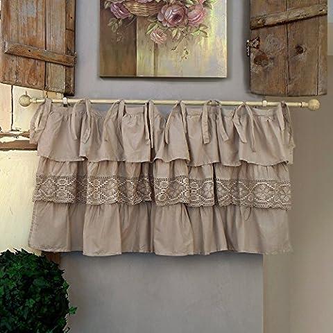 Vorhang Gardine Scheibengardine Bistrogardine mit drei Rüschen Landhaus Shabby Chic - Rüsche Volant / Häkelspitze - 130x60 - Taupe - 100% Baumwoll