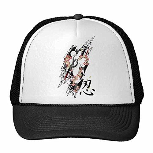 DIYthinker Japan Kultur Japanische Art Ninja Samurai-Schwert Sakura Blätter Kunst Illustration Muster Retromütze Baseballmütze Nylon Mütze justierbare Kappe Erwachsener