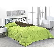 Sabanalia - Edredón nórdico de 400 g , bicolor, cama de 200 cm, color verde y chocolate