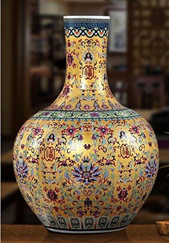 All Décor Chinesische Porzellan Vase Blume Home Office Decor Handgefertigt und Handbemalt Porzellan mit Blumenmuster (53,3x 35,6x 20,3cm) -
