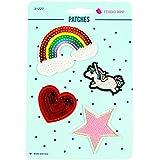 Applikationen Patches Einhorn Herz Stern Regenbogen Pailletten - Preis gilt für 1 Päckchen á 4 Motive