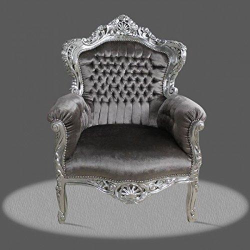 LouisXV Barock Sessel Armlehner Vintage Antik Stil Rokoko Blatt Silber Bezug Grau Mir Kristallen...