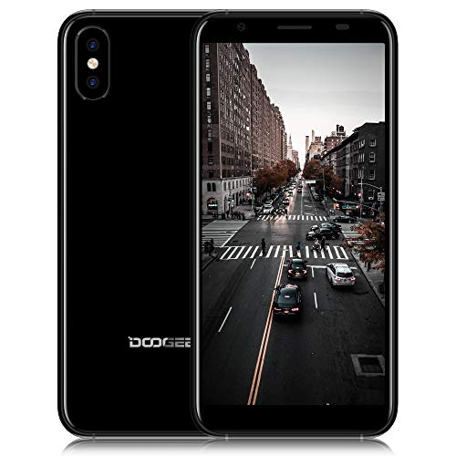Moviles Libres 3G, DOOGEE X55 Smartphone Libres 5.5 Pulgadas 18: 9 Pantalla Android 7.1 Quad-Core 1GB + 16GB Cámaras Traseras Dobles 8.0MP + 8.0MP Desbloqueo de Huellas Dactilares Laterales (Negro)