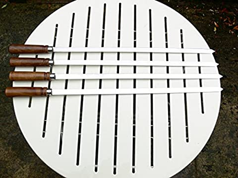 Set of 4 Top of the Range Professional Extra Long Stainless Steel FLAT Skewers with Sheesham Wood Handles