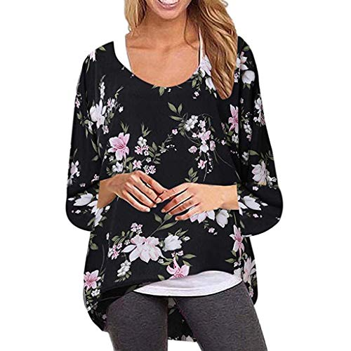 CixNy Damen Tunika Frauen Fledermaus Langarm T-Shirts Lässig Herbst Winter Gedruckt Blumen Cocktail Tops Polo Weste Hemd Bluse Pullover (M, Schwarz) -