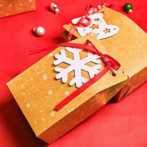 6 stili, 4,5x 3 x 7 sacchetti di caramelle di carta kraft per forniture per decorazioni natalizie con 24 cravatte a nastro bianche Scatole regalo di Natale da 24 pezzi