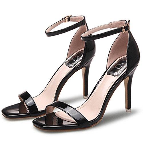 Oasap Women's Fashion Open Toe Ankle Strap High Stiletto Sandals white