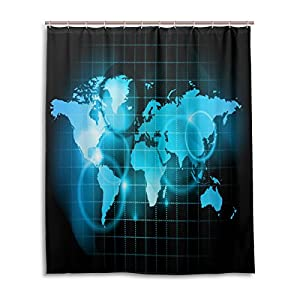 Cortina de ducha de baño 60x 72inch Bling Luz Azul arte Digital, diseño de mapamundi tela de poliéster a prueba de moho cortina de baño