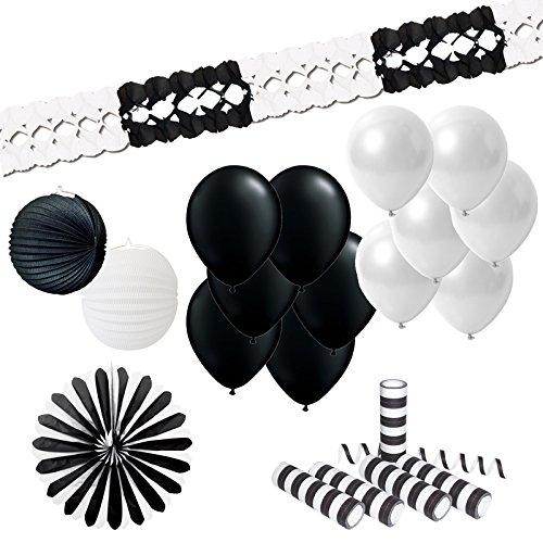 Everflag Dekoset Schwarz-Weiß groß (21 Teile)
