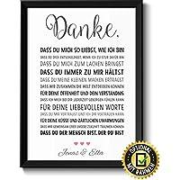 DANKE Liebe liebevolle Liebeserklärung mit Namen personalisiert optional mit Holz-Rahmen Geschenk Geschenkidee Männer Frauen