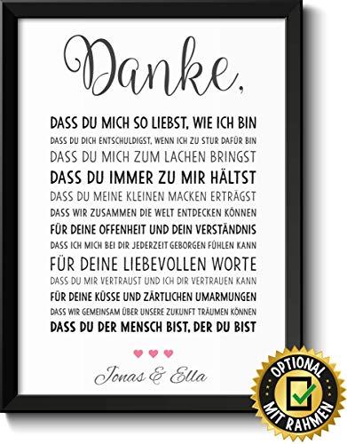 DANKE Liebe - schöne Liebeserklärung - Rahmen optional - Geschenk Geschenkidee Valentinstag Geburtstag Jahrestag Hochzeitstag Hochzeit Männer & Frauen