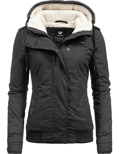 Ragwear Damen Winterjacke Outdoorjacke Ewok Black Minidots018 Gr. S Schwarze Parka Jacke Mantel