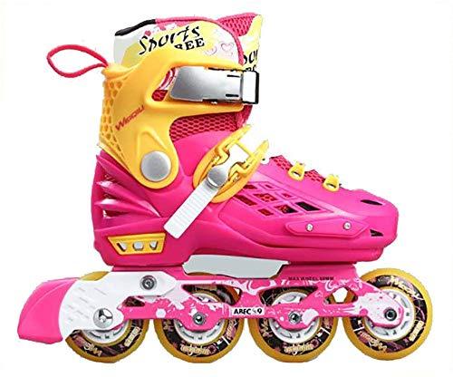 FXPCQC Kinder Quad Skate,Jugend Rollschuhe,Jungen Inline Skates Rollschuhe VerschleißFeste Roller Skates,Erwachsene Verstellbar MäDchen,Pink-M