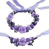 ABBY Fille Simulation Bracelet Fleur Bande de Cheveux Costume de Paternité L'Europe Balnéaire Mariage Mariée Mode de Couronne de Fleurs/Violet