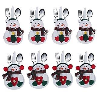 Tenrany Home Navidad Bolsillos para Cubiertos, 6 Pcs Bolsa de Cuchillo Cuchara Tenedor Papa Noel Renos Muñeco de Nieve Vajilla Juego de Cena Decoración de Navidad Adornos (Multi)