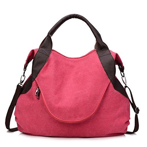 8b58d16de96f1 THEE Damen Retro Canvas Schultertasche Handtasche Einkaufstasche Messenger  Tasche Rot