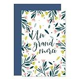 8 Cartes Remerciement avec 8 Enveloppes de couleur • Format pratique 10x15 cm • Verso vierge pour écrire • Design Original au Style Champêtre • Popcarte (Bleue marine)...