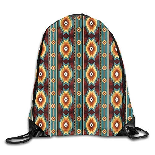 Haloxa Sports Bags Gym Bag, Drawstring Bags Ethnic Navajo Native American Southwestern Shoulder Bags Travel Sport Gym Backpack Yoga Runner Daypack Shoe Bags