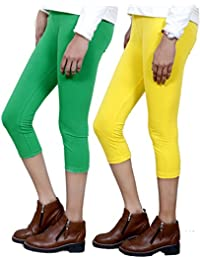 IndiWeaves Girls Stylish attractive color Cotton 3/4 th Pant/Capri(Pack of 2)