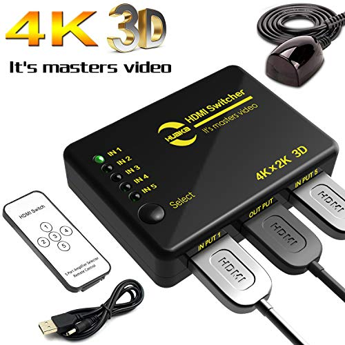 HDMI Switch 4k, Huaka 5-Port HDMI Switch mit USB-Kabel, unterstützt 4k, 3D 1080p HD Audio. Für Nintendo Spiele, Xbox One, roku3, Apple TV, HDTV, Microsoft Spielekonsole, PS3,Ps4 usw.