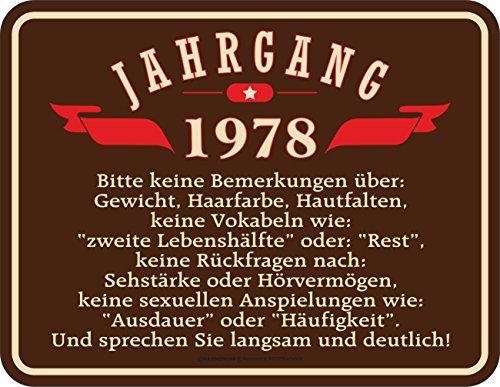 Original RAHMENLOS® Blechschild zum 40. Geburtstag: Jahrgang 1978
