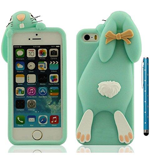 Apple iPhone 5 / 5S / SE / 5C Hülle Cover + Stylus Pen Weich elastisch Silikon Gel Tiertyp Entwurf Mädchen Stil 3D Hase Gestalten Verschiedene Farbe Cyan