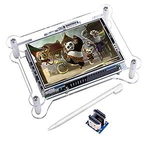 Kuman TFT Touchscreen 3.5 Zoll TFT LCD Display Monitor mit Schutzhülle Stützen Sie Alle Himbeer PI System Video Film Spielen Arcade Spiel HDMI Audioeingang (3,5HDMI LCD + Gehäuse) SC6AC