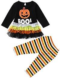 JYC Conjuntos Bebes,Ropa para Chicas,Niñito Bebé Chicas Largo Manga Calabaza Carta Impresión Tops+Pantalones Halloween Trajes