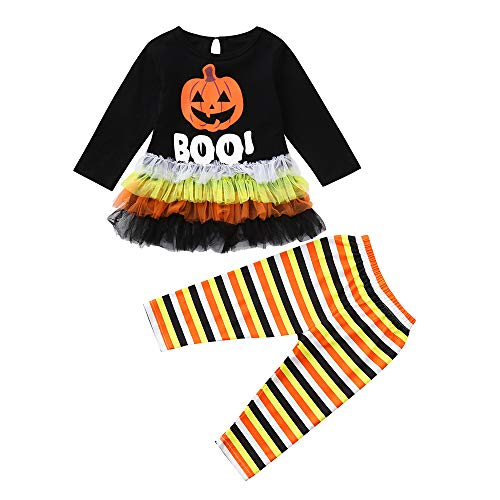 Fuibo Baby Halloween Kleidung, Neugeborenes Baby Mädchen Langarm Kürbis Brief Print Tops + Hosen Halloween Outfits Weihnachten (6-12M(80), Schwarz)