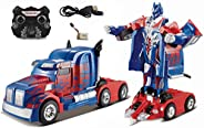 Popsugar Optimus Truck Transformer with Rechargeable Battery and Charger RC car for Kids, Blue