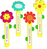 alles-meine.de GmbH Thermometer -  Bunte Blume  - aus Holz - für Kinder - Kinderthermometer - Wandthermometer / Kinderzimmer - Wärme Kälte - Holzthermometer / Raumthermometer -..
