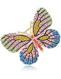 qiuxiaoaa Broche de Mariposa Insecto Colorido encantos de la Manera de la joyería Insignia Banquete Bufanda Pins