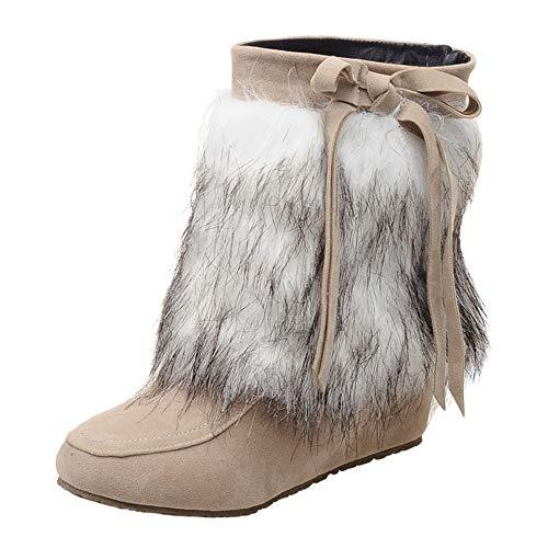 MYMYG Damen Schneestiefel Martain Boot Frauen Wildleder Plüsch Runde Zehe Wedges Schuhe Reine Farbe Slip-On Keep Warm Snow Boots Warme Plüsch Gefüttert Winterstiefel