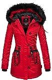 Marikoo warme Damen Winter Jacke Mantel Parka Winterjacke Teddyfell B388 [B388-Elle-Rot-Gr.L]