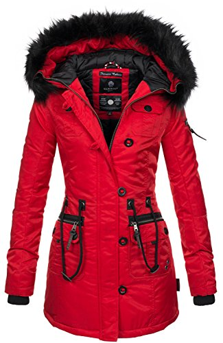 Marikoo warme Damen Winter Jacke Mantel Parka Winterjacke Teddyfell B388 [B388-Elle-Rot-Gr.M]