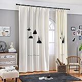 GWELL Kinderzimmer Gardinen Vorhang Baumwolle und Leinen Ösenschal Dekoschal für Wohnzimmer Schlafzimmer 245x140cm(HxB) Lampe Motiv 1er-Pack
