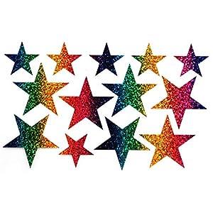 Bügelbild, Motiv: Sterne, Farbe: regenbogen, Setgröße: groß, heißsiegelfähige Flexfolie