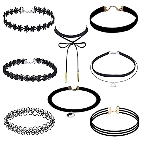 La Rose Elégante 8 pièces Choker Necklace Une Série Gothique Elastique Lace Choker Necklaces Stretch (Lace Choker)