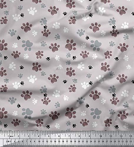 Soimoi Grau Baumwolljersey Stoff Pfote Hund Stoff Drucke Meter 58 Zoll breit (Kostüm Pfoten Hund)