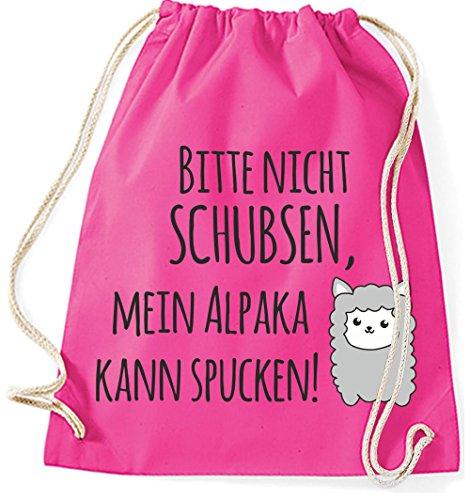Jutebeutel Turnbeutel Sportbeutel Stofftasche Baumwolltasche Tasche Rucksack mit Kordel Gymsack Mein Alpaka kann spucken! (Natur) Pink