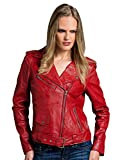 Urban Leather Perfecto Retro Damen Lederjacke Rot Lamm-Nappa, Red, Größe 2XL - 46