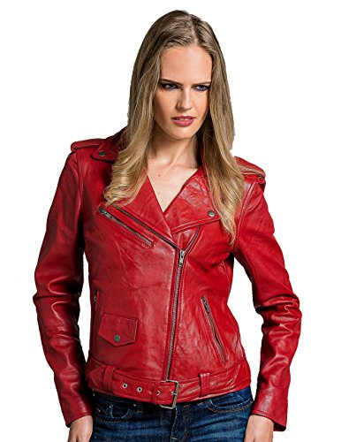 *Urban Leather Perfecto Retro Damen Lederjacke Rot Lamm-Nappa, Red, Größe M – 40*
