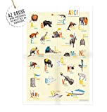 ABC-Poster zum Schulanfang, farbenfrohes Design, mehrsprachig (deutsch, englisch) Deko Collage im Kinderzimmer Plakat, Wanddeko für Junge, Mädchen und Erwachsene, Vintage, Bunt, A2 groß, gefaltet auf A4