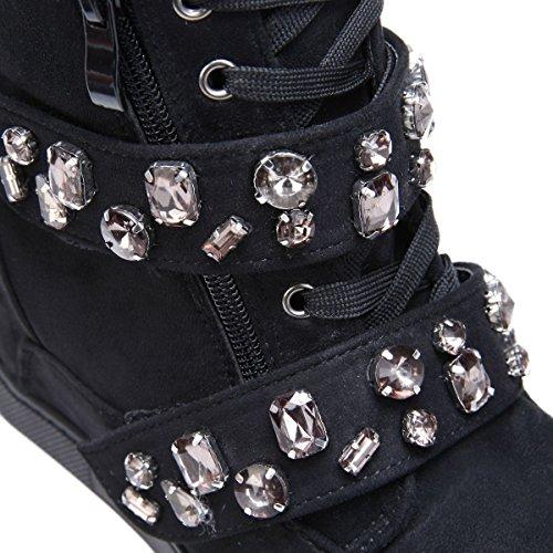 La Modeuse Baskets Montantes en Suédine à Talon Compensé Femme Noir
