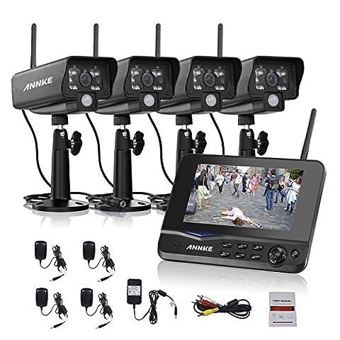 Annke 2.4GHz Digital Wireless 4CH CCTV DVR Day Night Security Camera Surveillance System with 7
