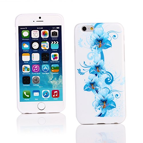 """Kit Me Out FR Coque en gel TPU pour Apple iPhone 6 / 6S 4.7"""" pouces - blanc / rouge / noir coeur style tatouage blanc / bleu motif floral"""