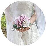 TOPQUEEN Braut sträuße Hochzeit Braut Bouquet Blumen Kristall-Diamant-Schaum-Rosen-Holding-Blumen mit schönen Band-Brautbrautjunfer Wedding Bouquet Artificial Silk Blumen Hand Holding (F17)