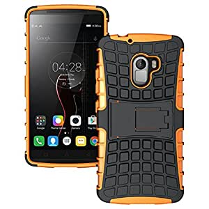 Heartly Flip Kick Stand Spider Hard Dual Rugged Armor Hybrid Bumper Back Case Cover For Lenovo K4 Note - Mobile Orange
