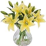 MEIWO Fiori Artificiali, 5 PCS Real Touch Lattice Lilies Artificiali Fiori in Vasi Mazzo di Nozze/Decorazione Casa/Partito/Graves Arrangiamento(Giallo)